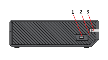 Drawing of the side of the Xbox One S console.