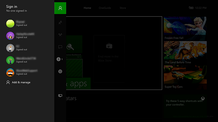 The sign-in screen on Xbox One, as accessed from The Guide