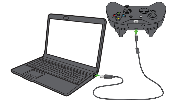 A laptop computer and a controller are connected using a micro-USB cable.