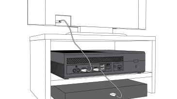 Xbox One console connected to TV and to cable or satellite box.