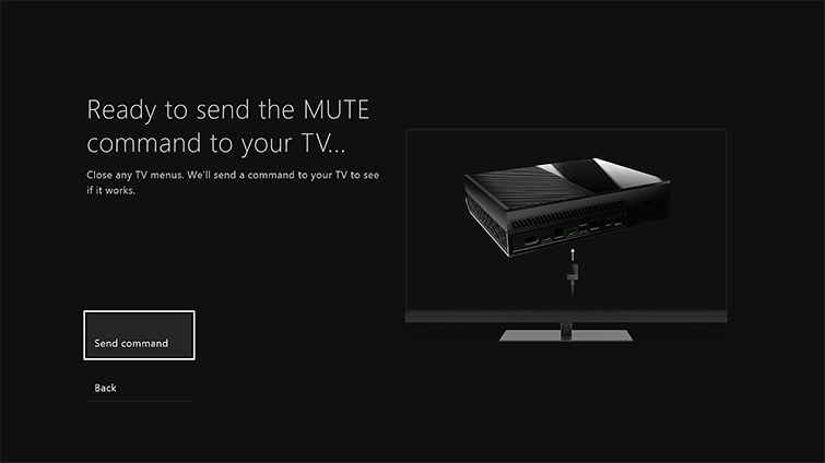 A screen shows the message 'Ready to send the MUTE command to your TV', with the 'Send command' option highlighted.