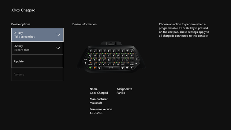 This screen shows the options to specify the actions assigned to the X1 and X2 keys on the Xbox One Chatpad.