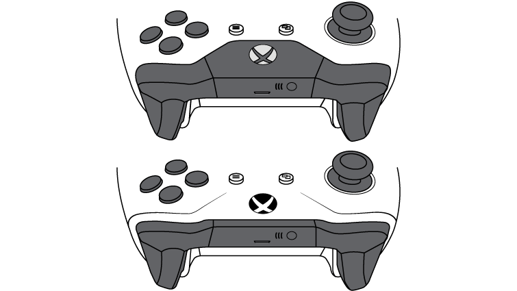The controller on top doesn't have Bluetooth and the plastic around the Xbox button is part of the top, where the bumpers are. On the controller on bottom, the Bluetooth-supported controller, the plastic around the Xbox button is part of the face of the controller.