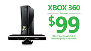 Xbox 360 as low as $99, with 2 year Xbox LIVE Gold membership at $14.99/month
