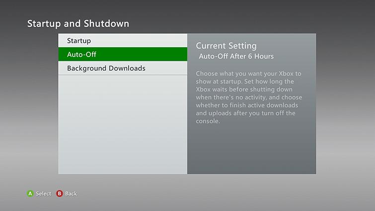 """Na obrazovce Startup and Shutdown je vybrána možnost """"Auto-Off""""."""
