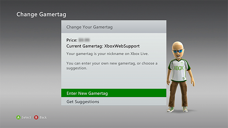 "The Change Gamertag screen includes options for ""Get Suggestions"" and ""Enter New Gamertag,"" which is highlighted."