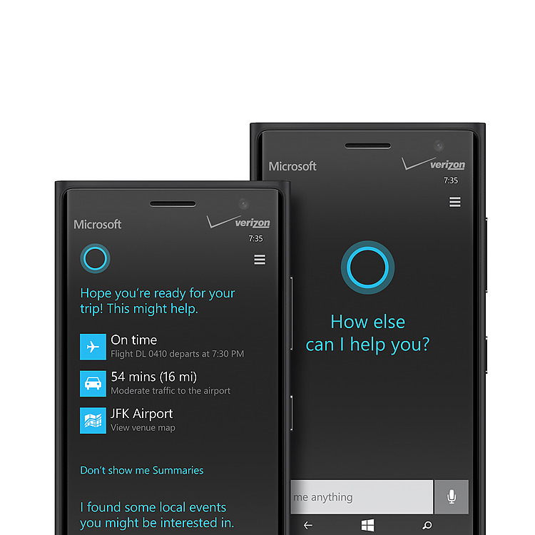 Two black Lumia 735 phones with Cortana screens