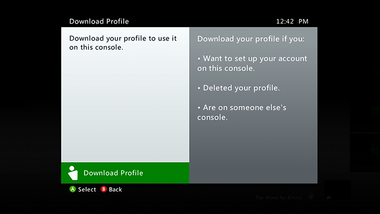 The Xbox 360 'Download Profile' screen showing the 'Download Profile' option highlighted.