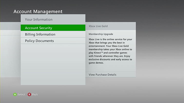 The Account Security option is highlighted on the Account Management screen.