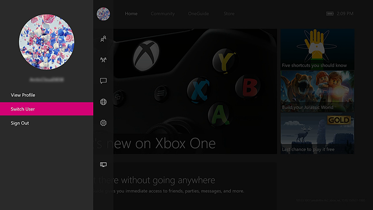 The view profile screen on the Xbox One Dashboard, with the profile in control of the console displayed and the Switch User option highlighted