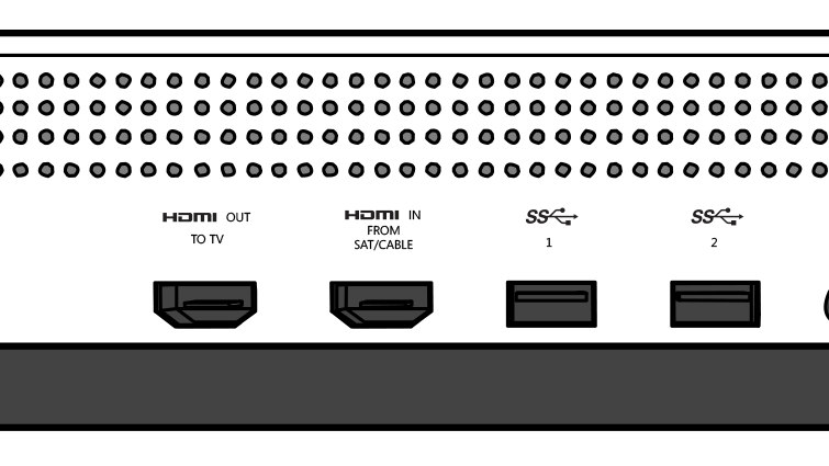 Close-up van de HDMI in- en HDMI-uit-poorten op de Xbox One S-console.