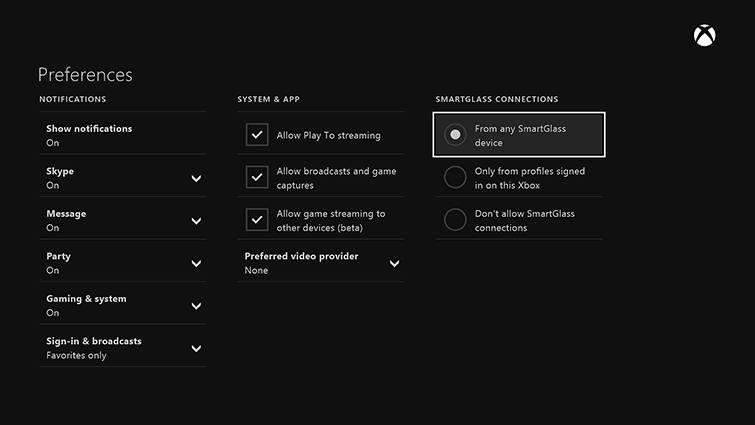 The Preferences screen is displayed. Under 'SMARTGLASS CONNECTIONS' the choice 'From any SmartGlass device' is selected.