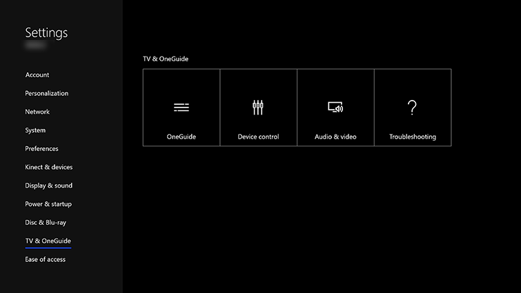 The TV & OneGuide settings screen.