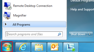 A screen close-up shows the 'Search programs and files' box in Windows 7.
