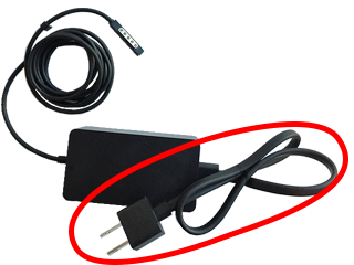Surface Pro power supply with an attached power cord