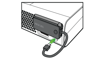 An arrow emphasises the Ethernet port connection of the Xbox 360 Wireless Networking Adaptor to an Original Xbox 360 console.