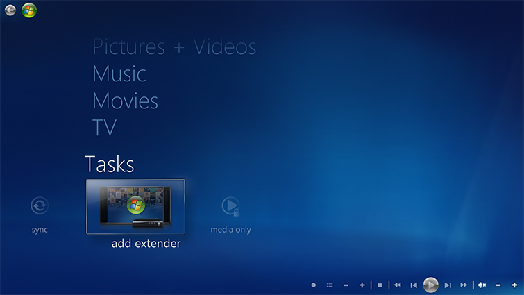 The Tasks tab in Windows Media Center, with the 'add extender' option selected