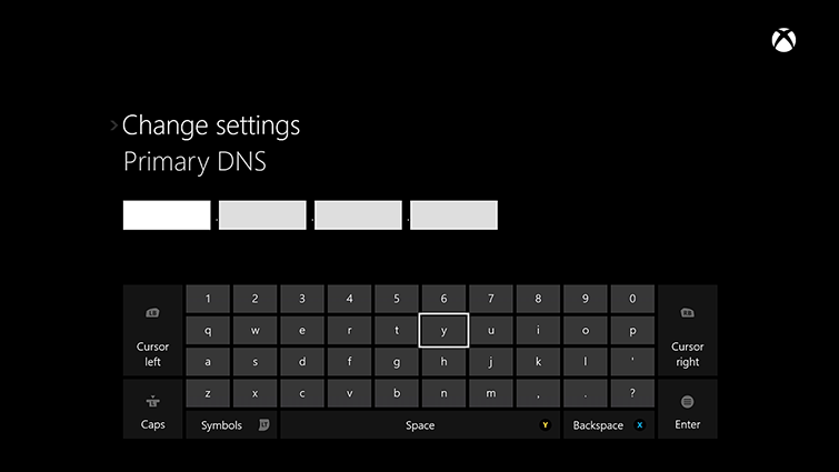 The DNS settings/change settings screen on Xbox One, which includes an on-screen keyboard