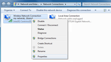 A Windows screen shows the context menu for a wireless network, with the Properties command selected.