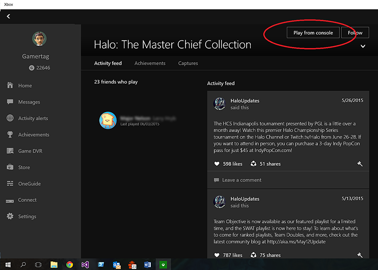 On the 'Halo: The Master Chief Collection' screen, the game's 'Activity feed' tab is shown. The 'Play from console' selection in the upper-right of the screen is circled.