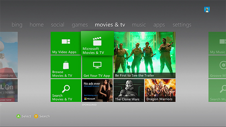 The Microsoft Movies & TV tile on the Xbox 360 Dashboard