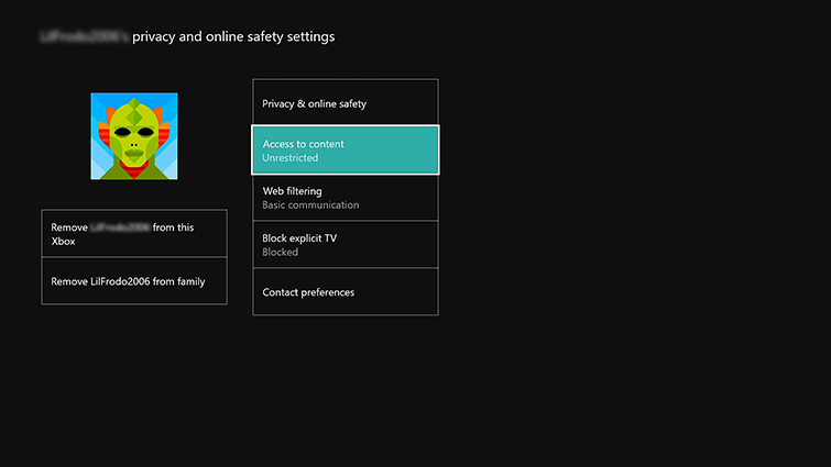 xbox security filtering