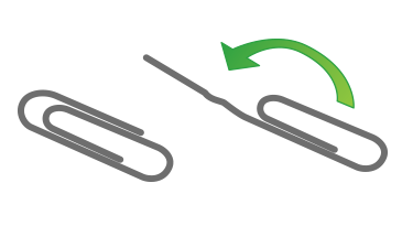 An illustration showing how to partly uncoil a large paper clip to get a long straight section