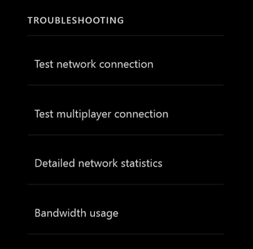 "Na pravé straně obrazovky ""Network settings"" je sloupec možností pro řešení potíží. Jsou k dispozici tyto možnosti: ""Test network connection"", ""Test multiplayer connection"", ""Detailed network statistics"" a ""Bandwidth usage""."