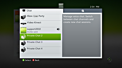 The Chat screen on Xbox Live, with a private chat channel selected