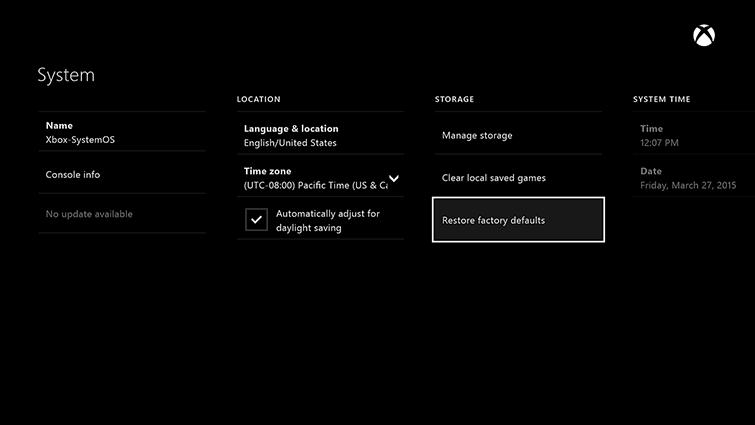 Come Resettare Xbox One alle impostazioni di fabbrica