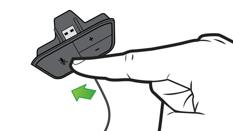In an illustration, an arrow and finger emphasise the mute button on the headset controls.