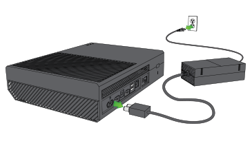 Arrows show the cables for an Xbox One power supply being disconnected from a console and a wall outlet.