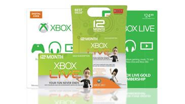 Sample Xbox Live prepaid code cards.
