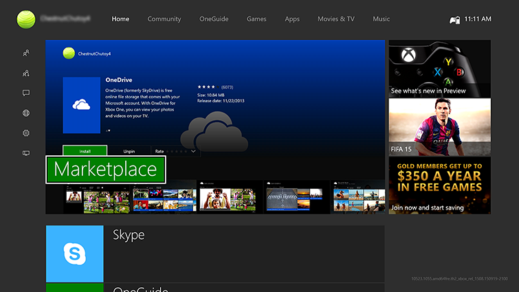 The Xbox One Guide on the left side of the Home screen