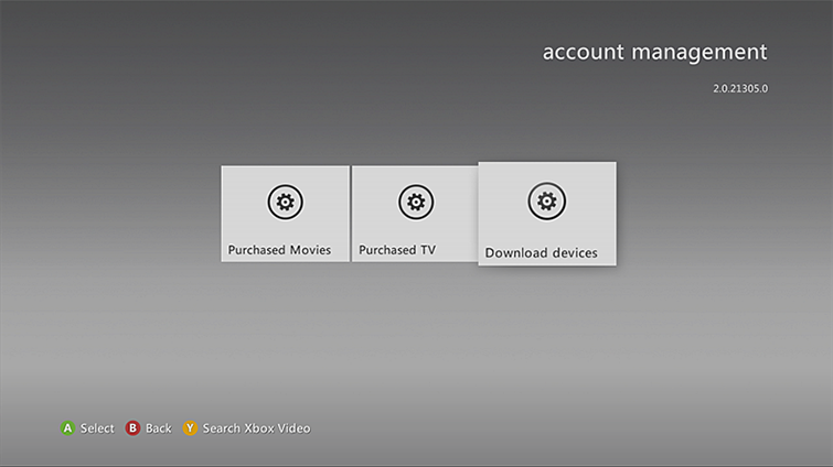 The 'Download devices' option is highlighted on the account management screen.