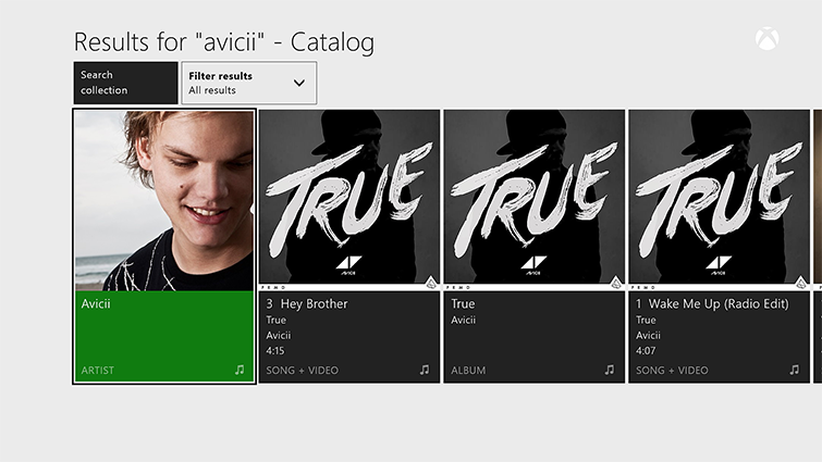 Sample search results in Groove on Xbox One