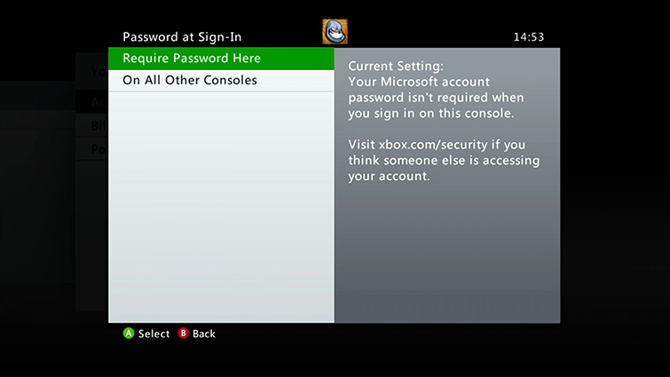 Skjermen Password at Sign-In inneholder alternativene On All Other Consoles og Require Password Here, som er uthevet.