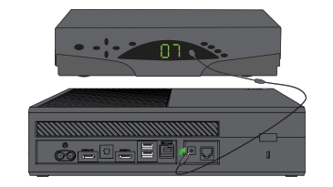 An illustration shows an Xbox One console connected to another device device with an IR extension cable.