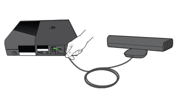 A hand plugs a Kinect sensor cable into the back of an Xbox 360 E console.