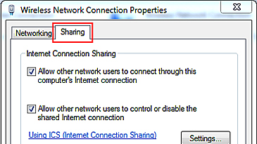 A Windows screen shows the Wireless Network Connection Properties with the Sharing tab selected.