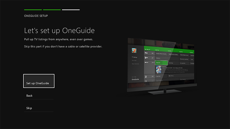 The 'Set up OneGuide' option is highlighted on the 'Let's set up OneGuide' screen.