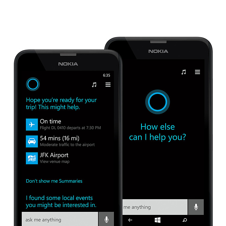 Two black Lumia 635 phones with Cortana screens