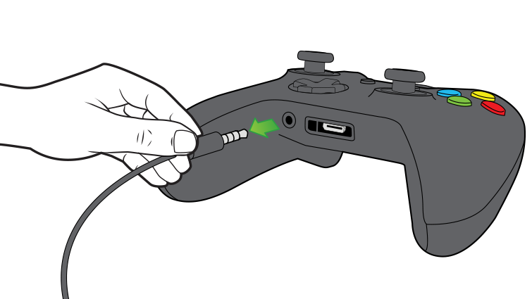 An arrow in an illustration emphasizes unplugging the 3.5-mm chat headset from the controller.