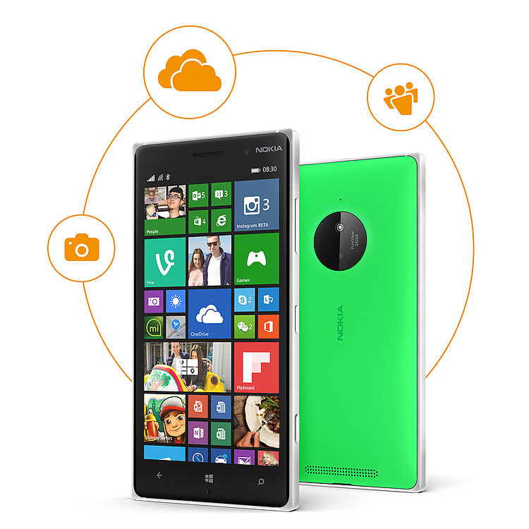 Two Lumia 830 phones, one facing forward with start screen and the other facing backward with a circular graphic emcompassing both phones