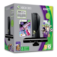 Xbox 360 250 GB KINECT Vorteilspaket mit Dance Central 2 & KINECT Sports