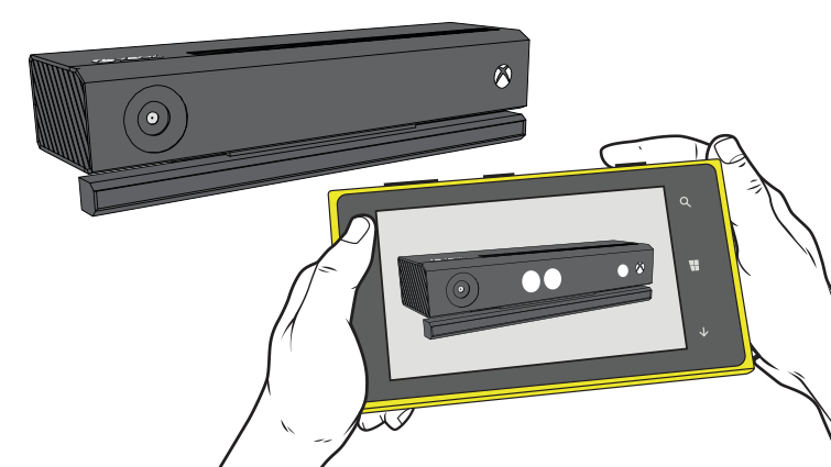 An illustration shows hands holding a smartphone in camera mode pointed toward a Kinect sensor, with three lighted emitters on the image of the sensor.