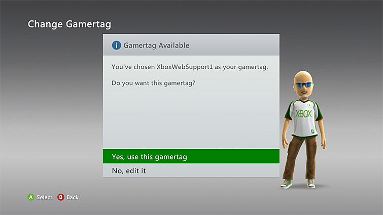 'Yes, use this gamertag' is selected to confirm a change of gamertag on the Xbox 360 console.
