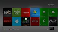 Kacheln von verschiedenen XboxLive-Apps auf einer Xbox360 Steuerung.