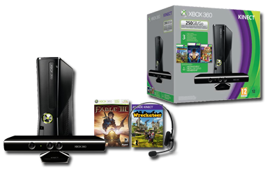 Xbox 360 250 GB KINECT Vorteilspaket mit Fable: The Journey & Wreckateers