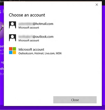 The 'Choose an account' screen in the Xbox app displays a list of accounts.